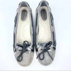 Sperry Topsider Gray Leather Boat Shoes 8M